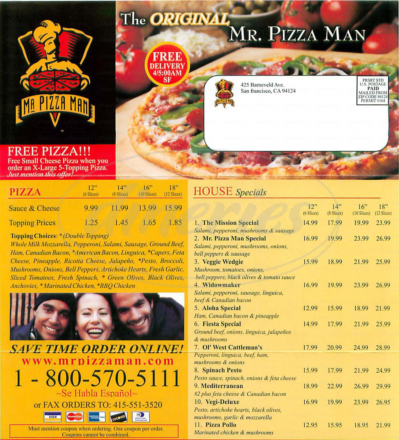 menu for Mr Pizza Man