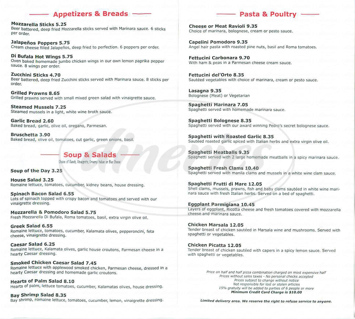 menu for Mozzarella di Bufala Pizzeria