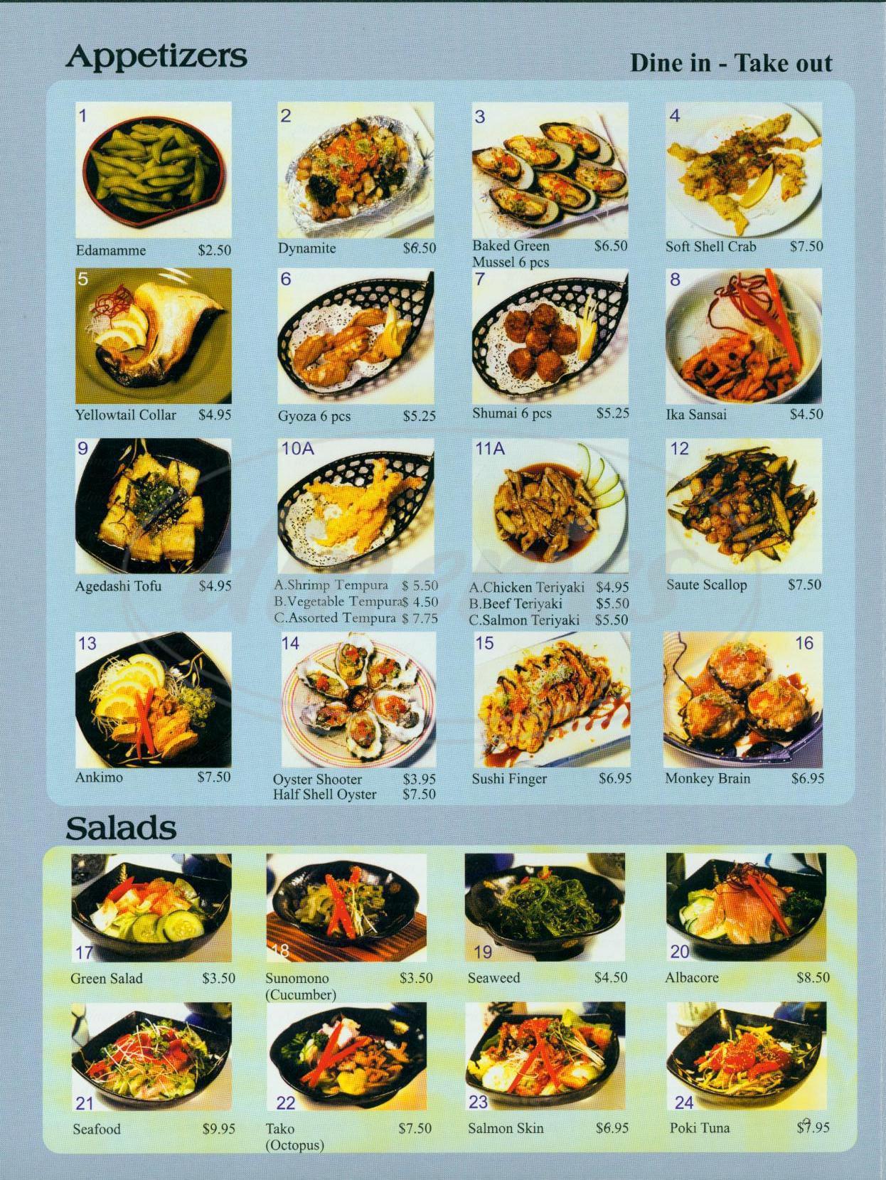 menu for Sakana Sushi