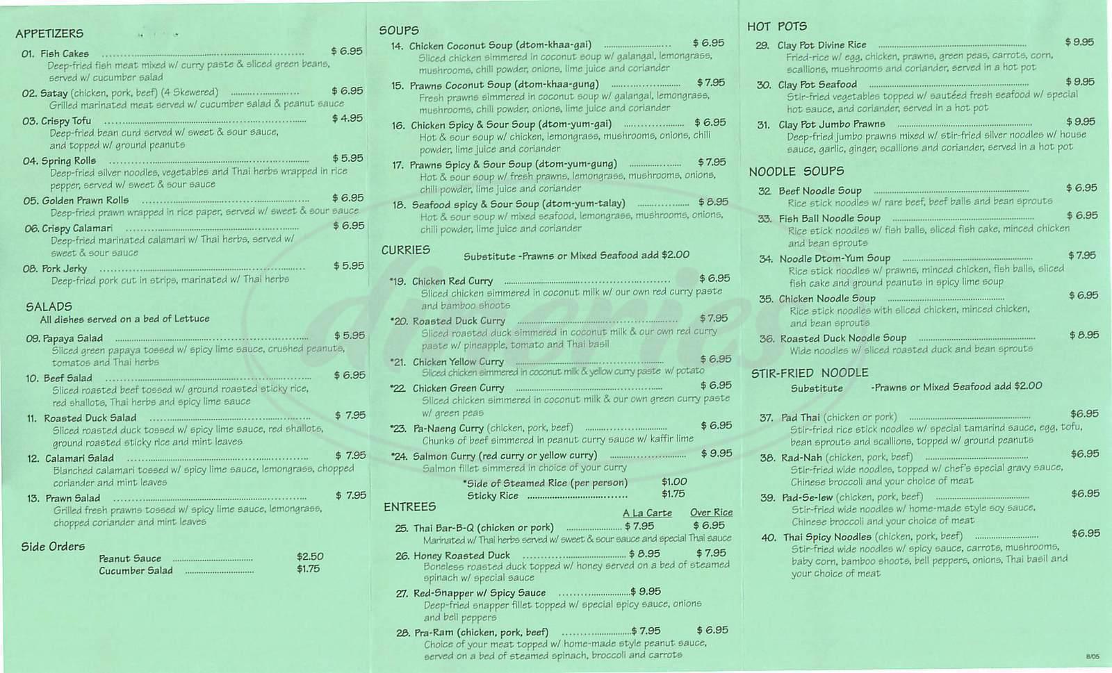 menu for Muang Thai Cuisine