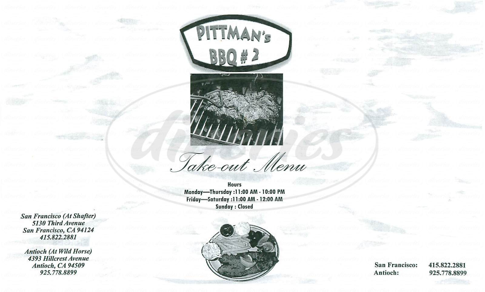 menu for Pittmans BBQ 2