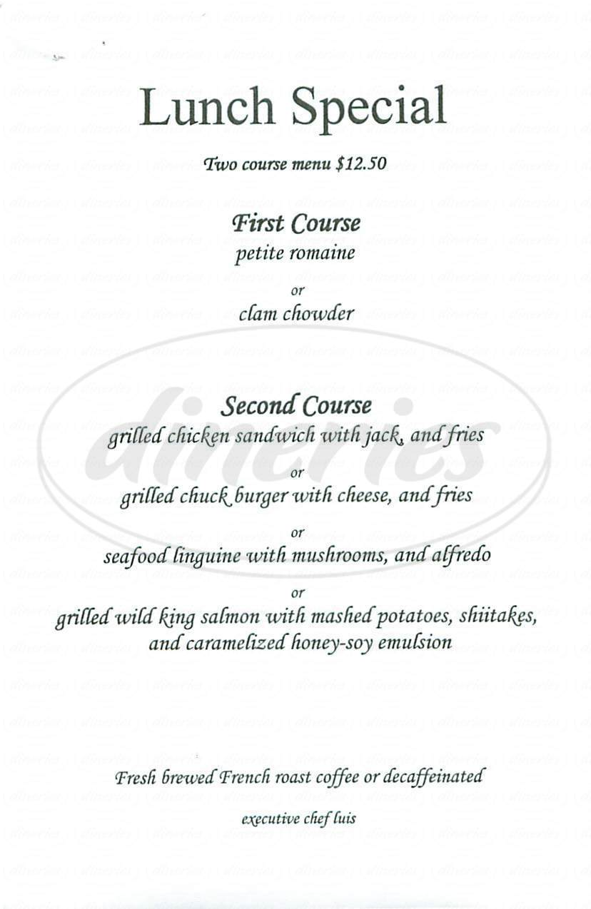 menu for Pisces California Cuisine
