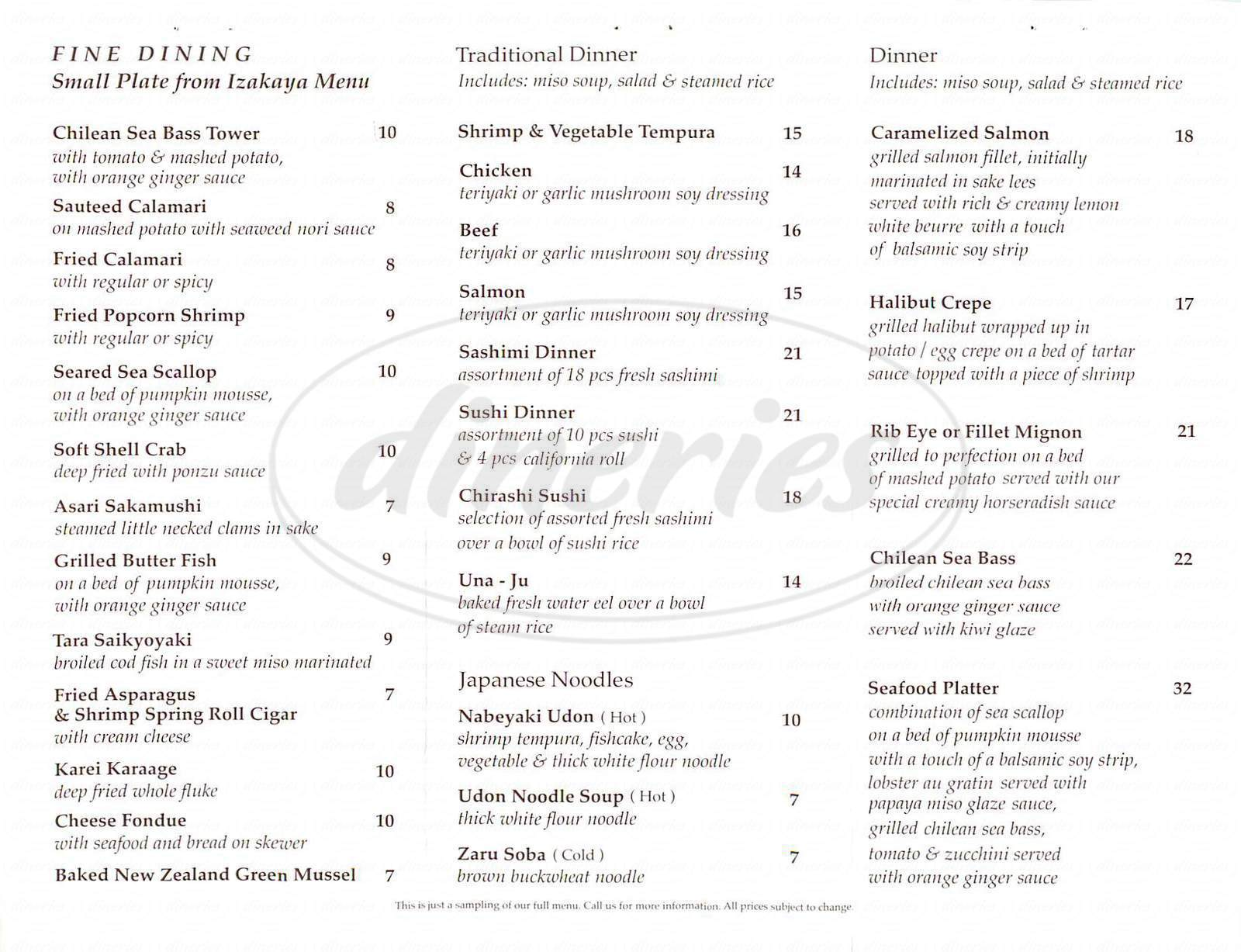menu for Zushi Japanese Cuisine