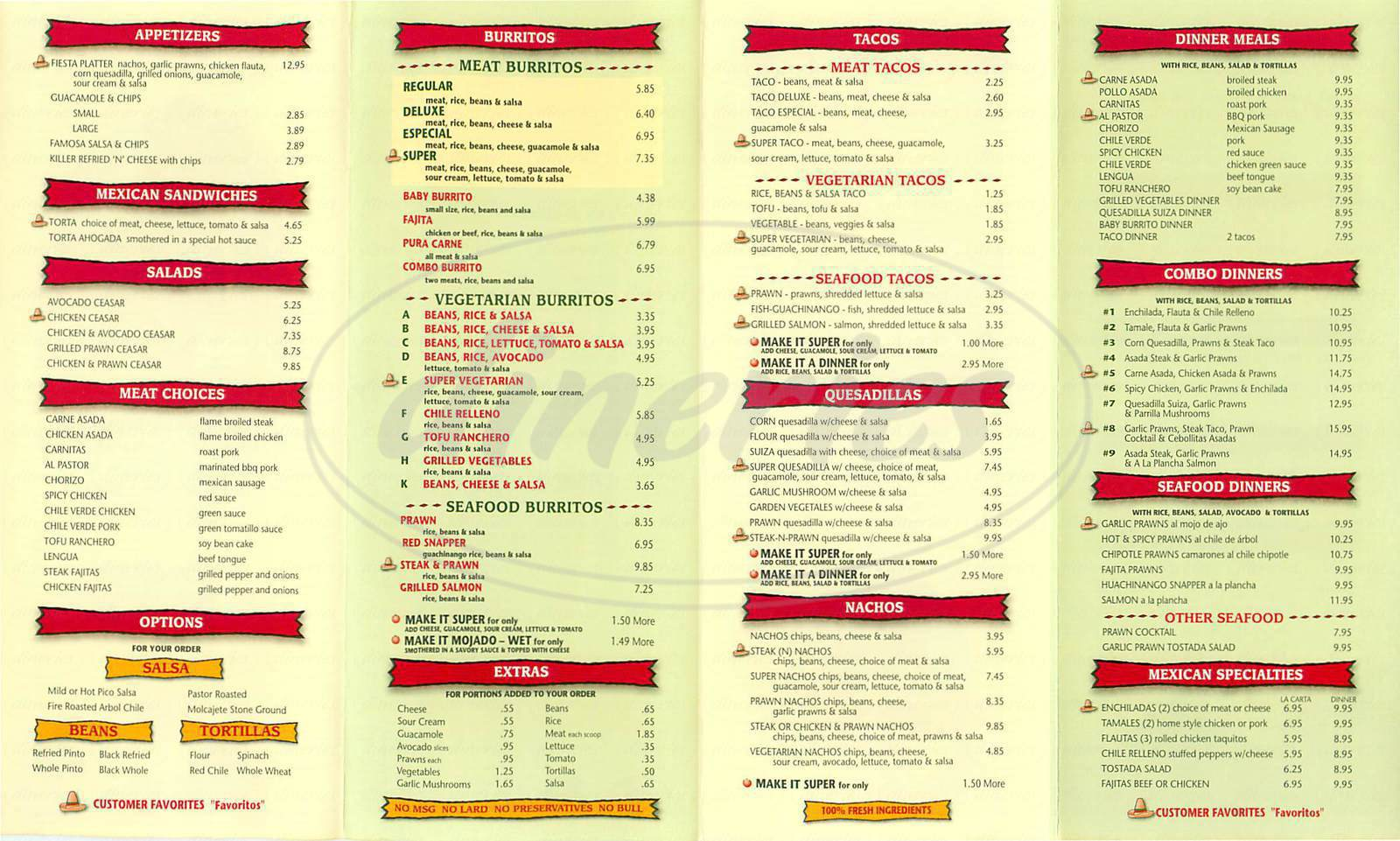 menu for Pancho Villa Taqueria