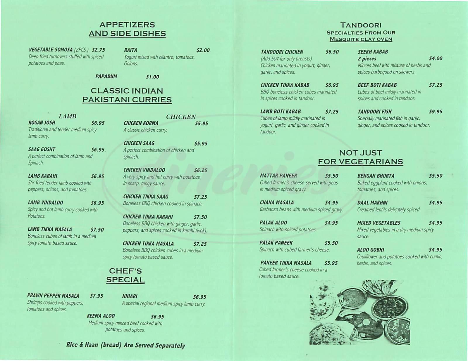 menu for Punjab Kabab House