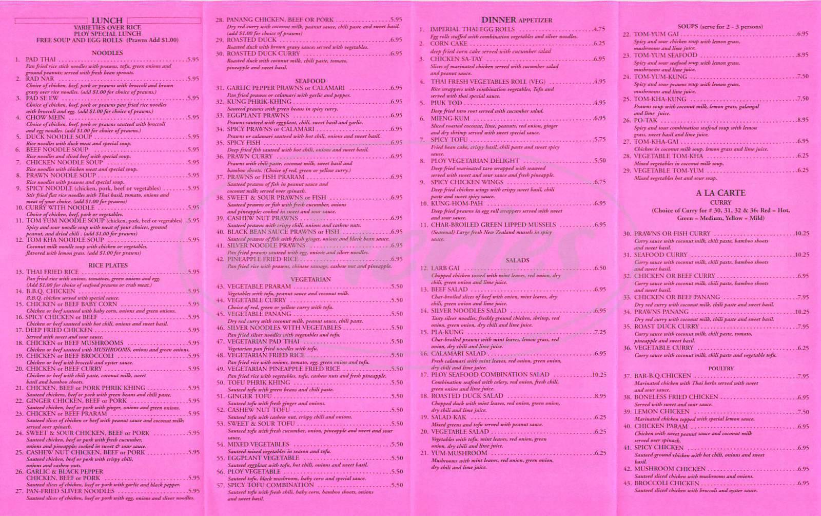menu for Ploy II Thai Cuisine