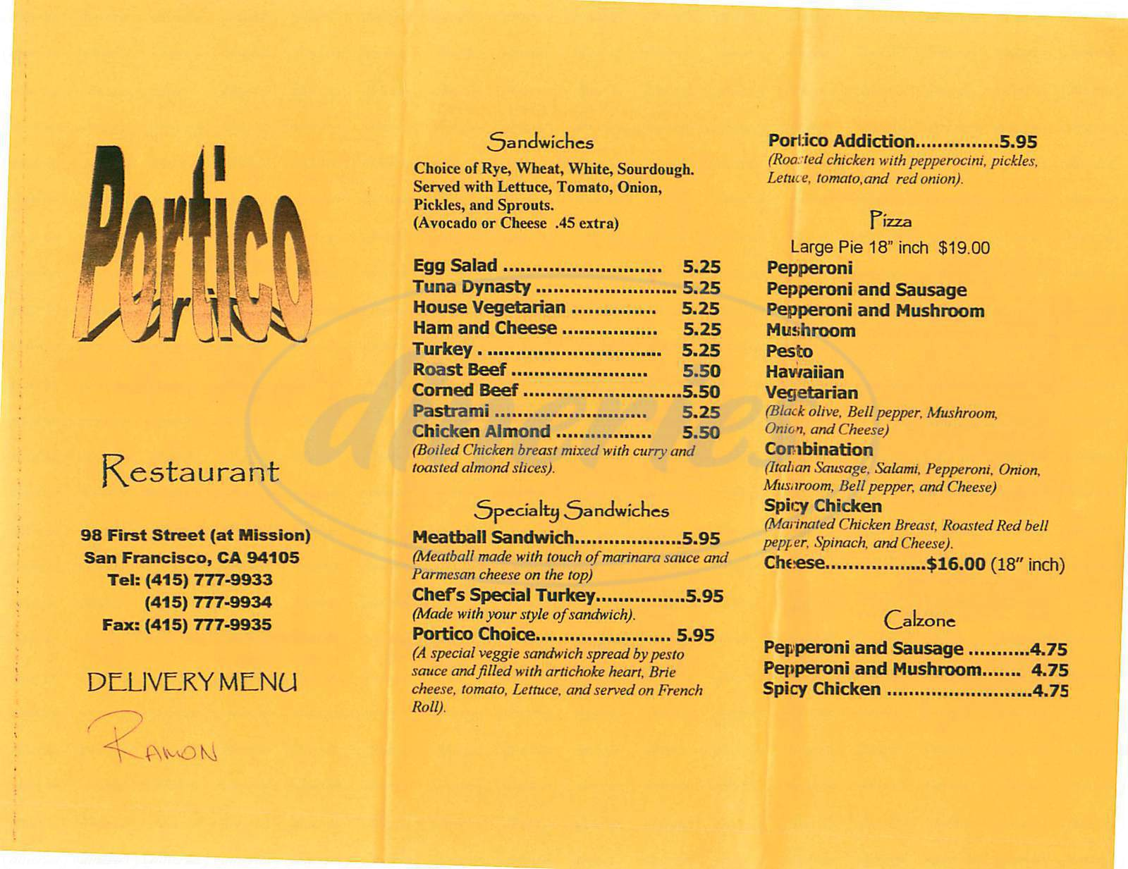 menu for Portico Restaurant