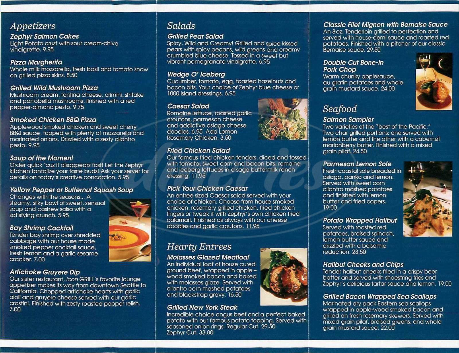 menu for Zephyr Grill & Bar