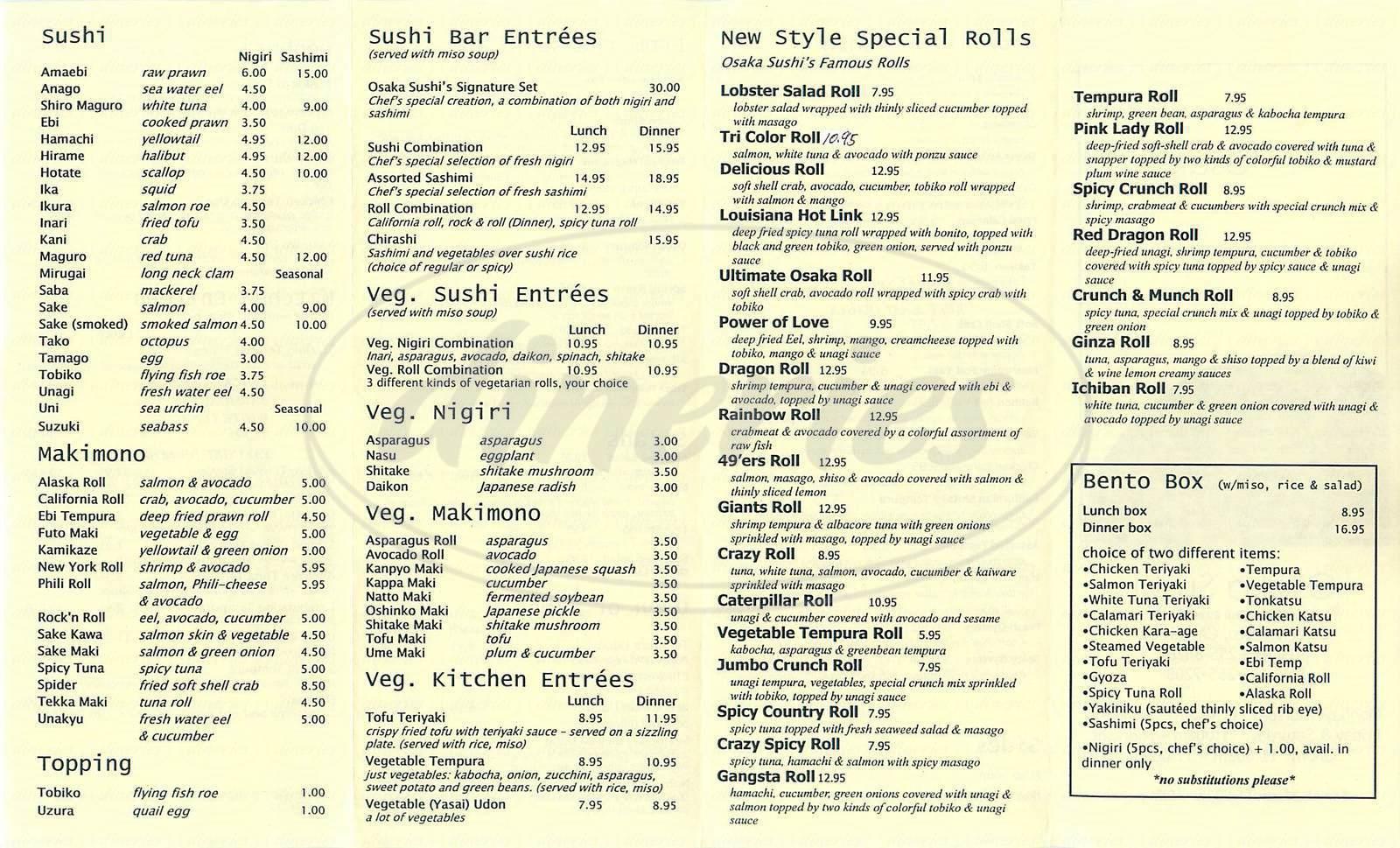 menu for Osaka Sushi