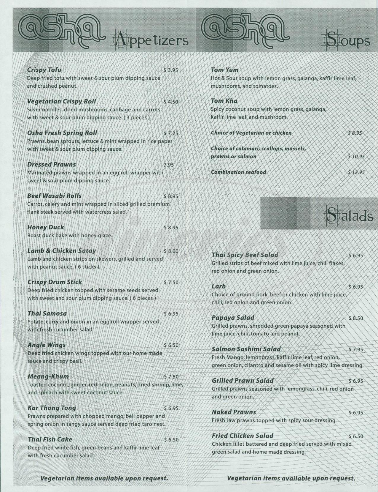 menu for Osha Thai Restaurant