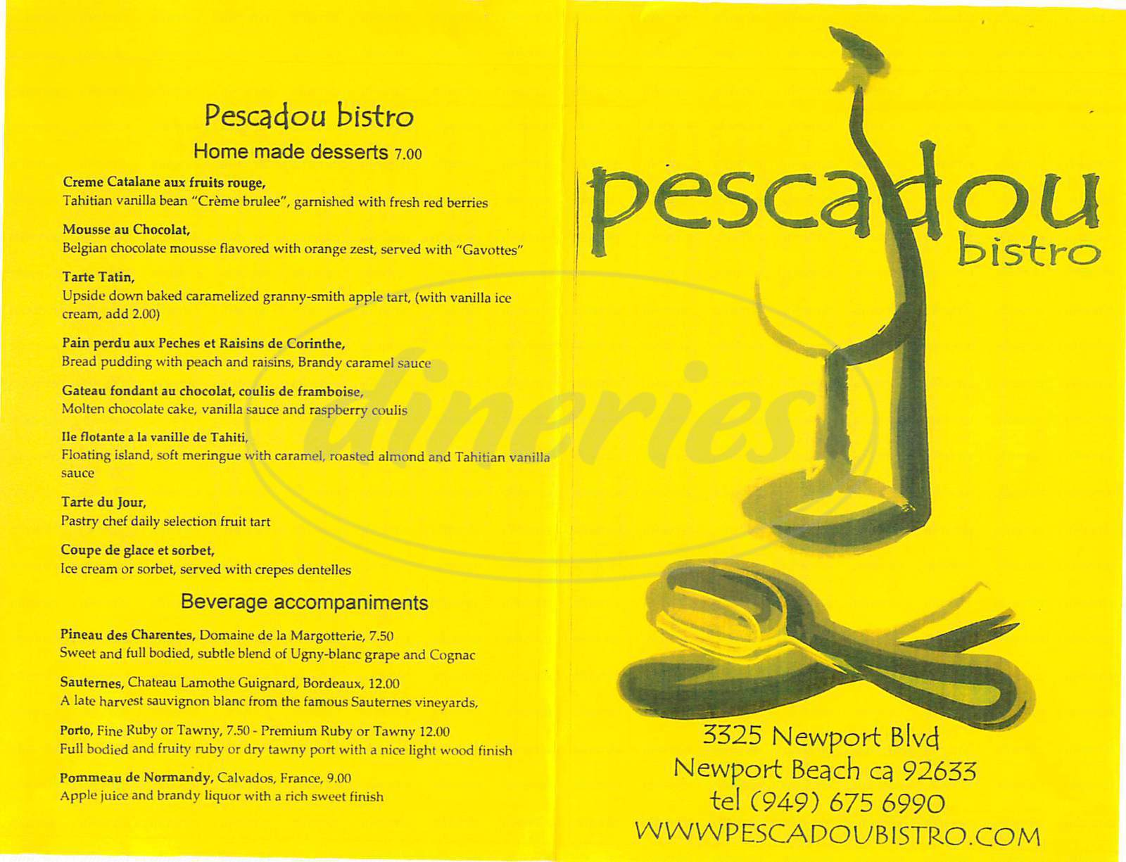 menu for Pescadou Bistro