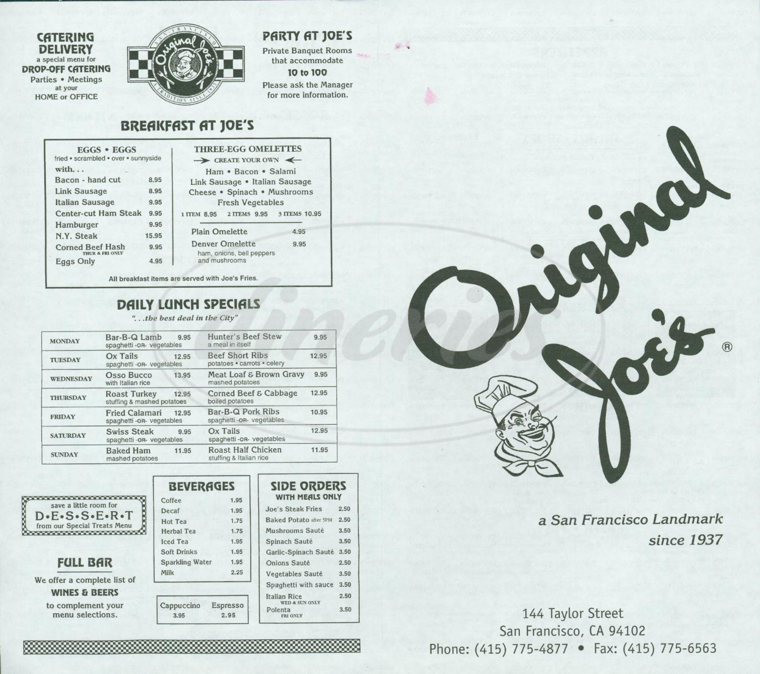 menu for Original Joes
