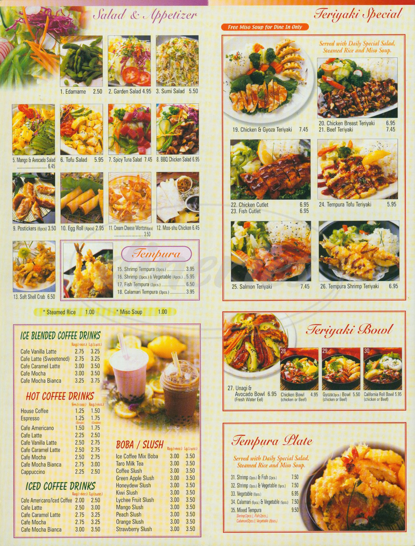 menu for Melrose Wok & Sushi