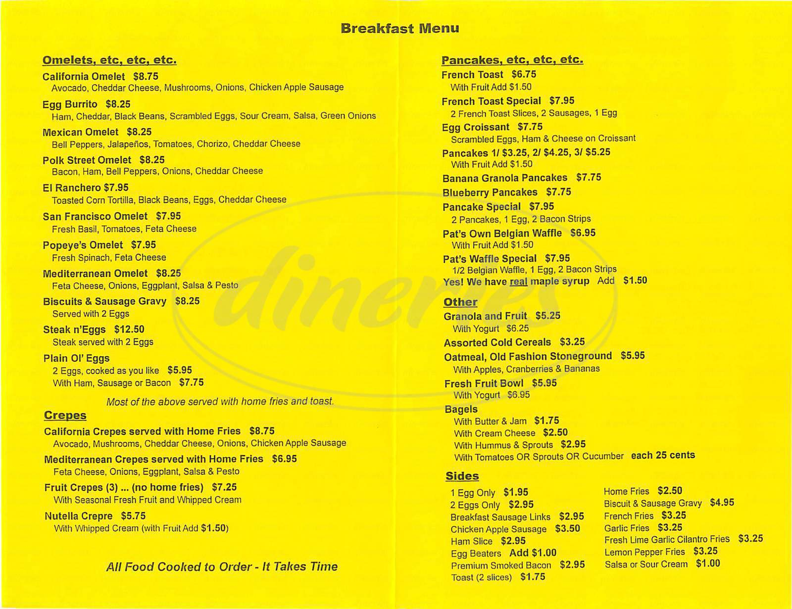 menu for Pats Café