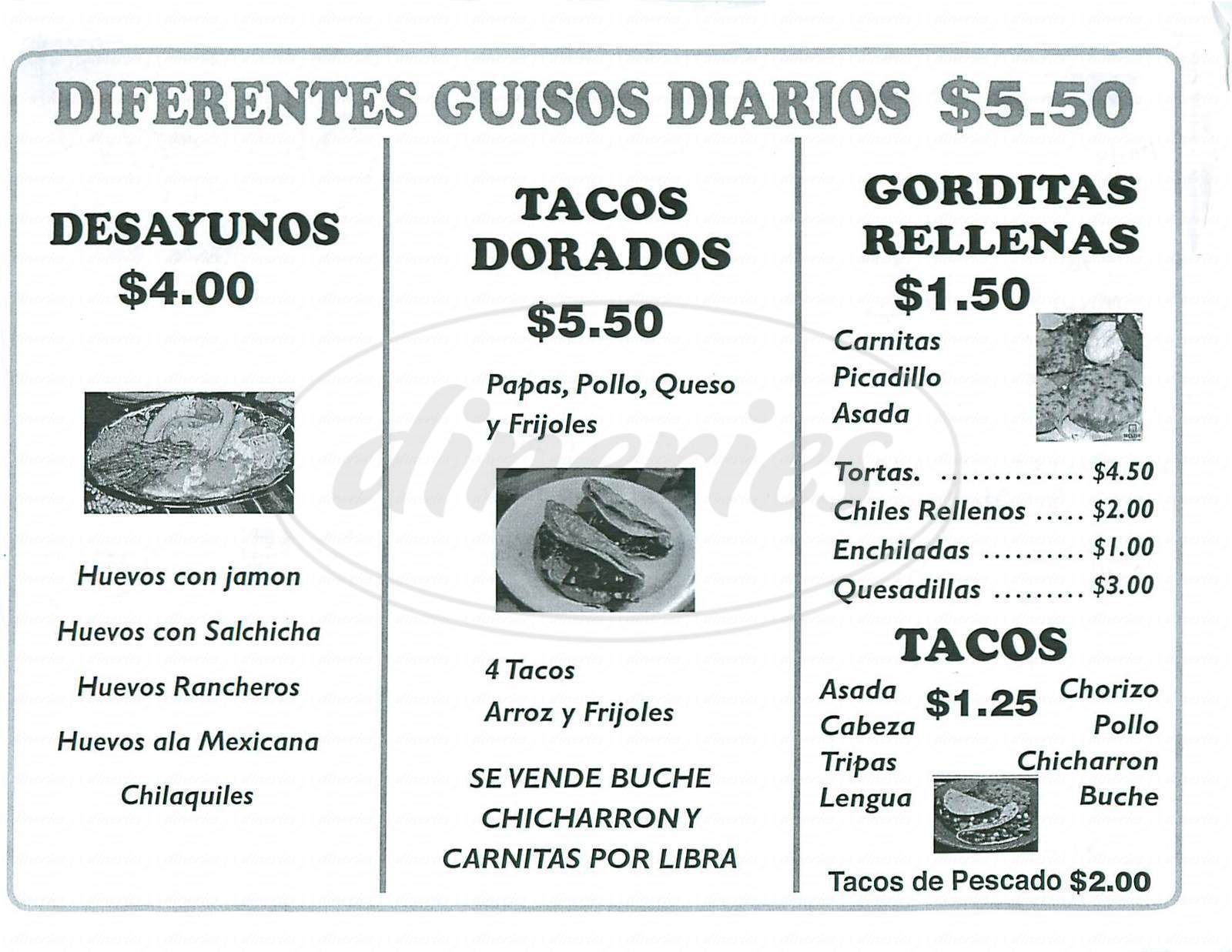 menu for Montana Restaurante