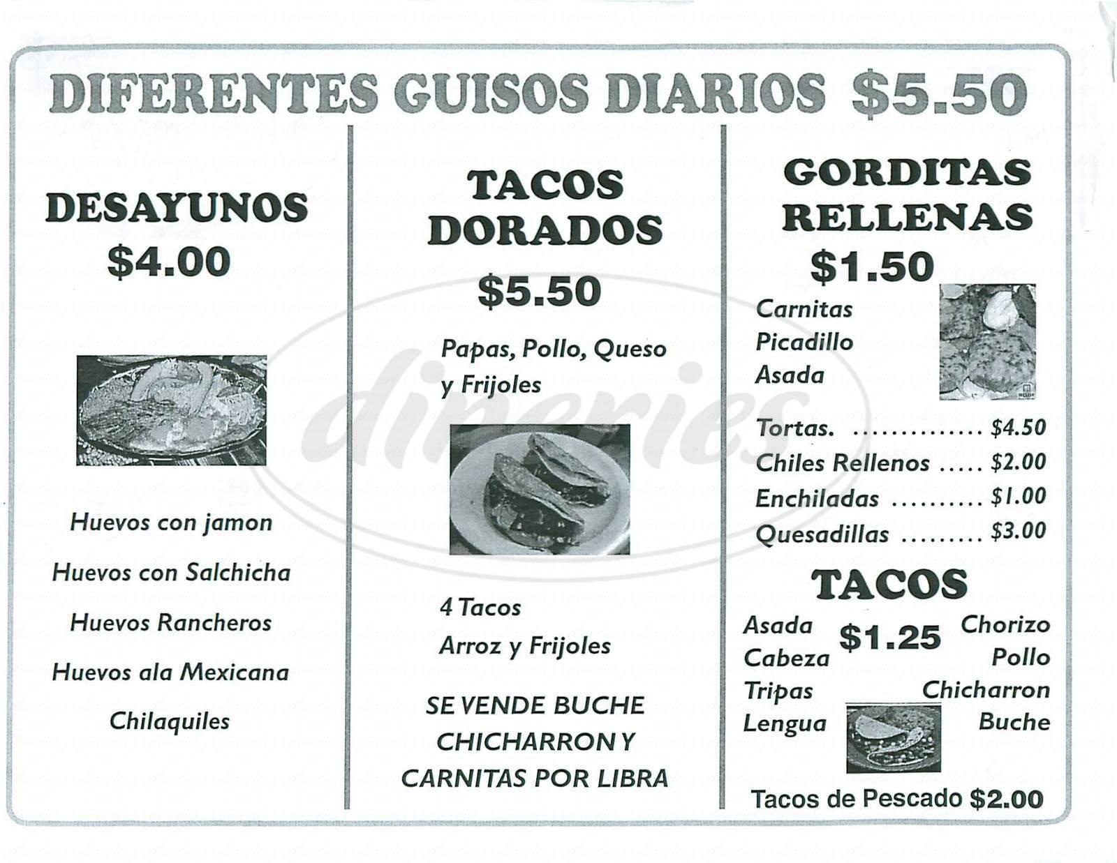 menu for Montana Restaurante