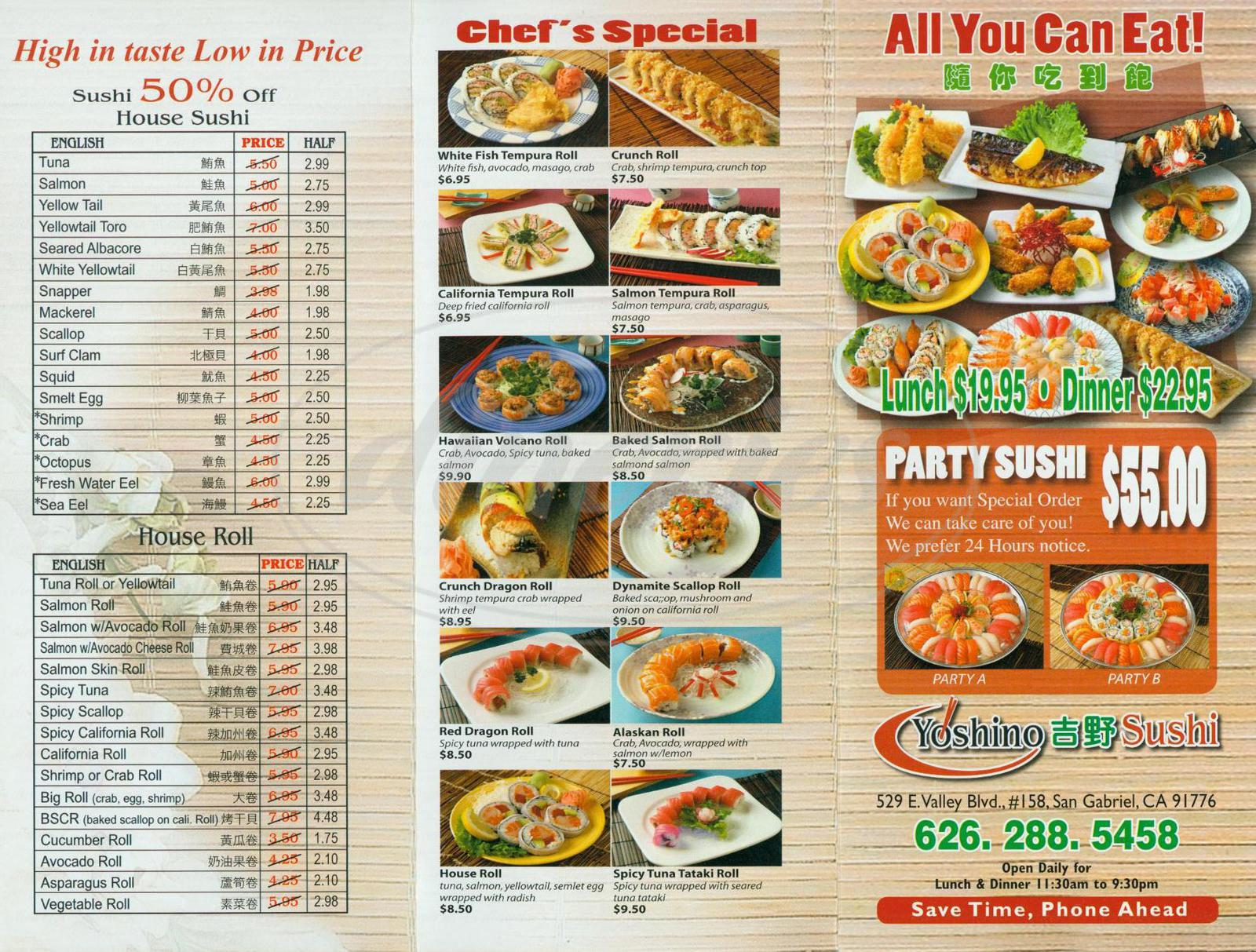 menu for Yoshino Sushi