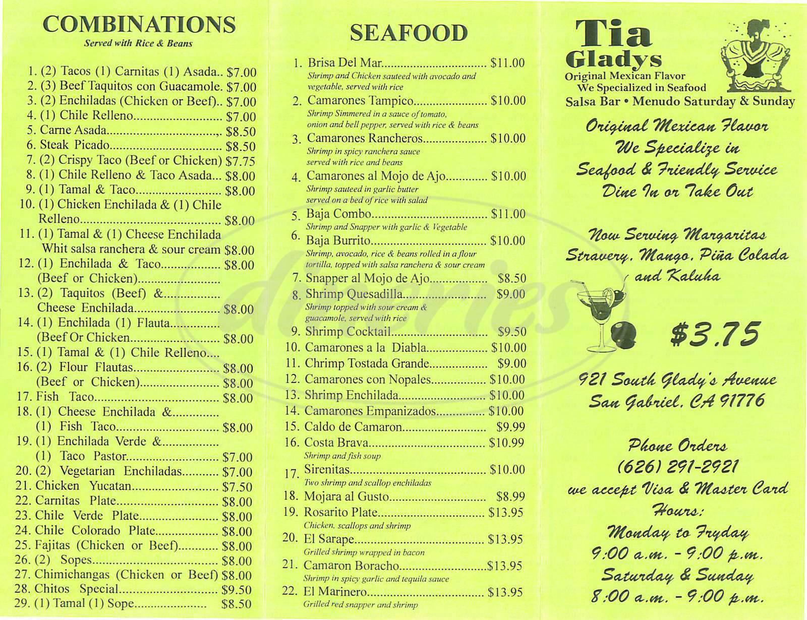 menu for Tia Gladys