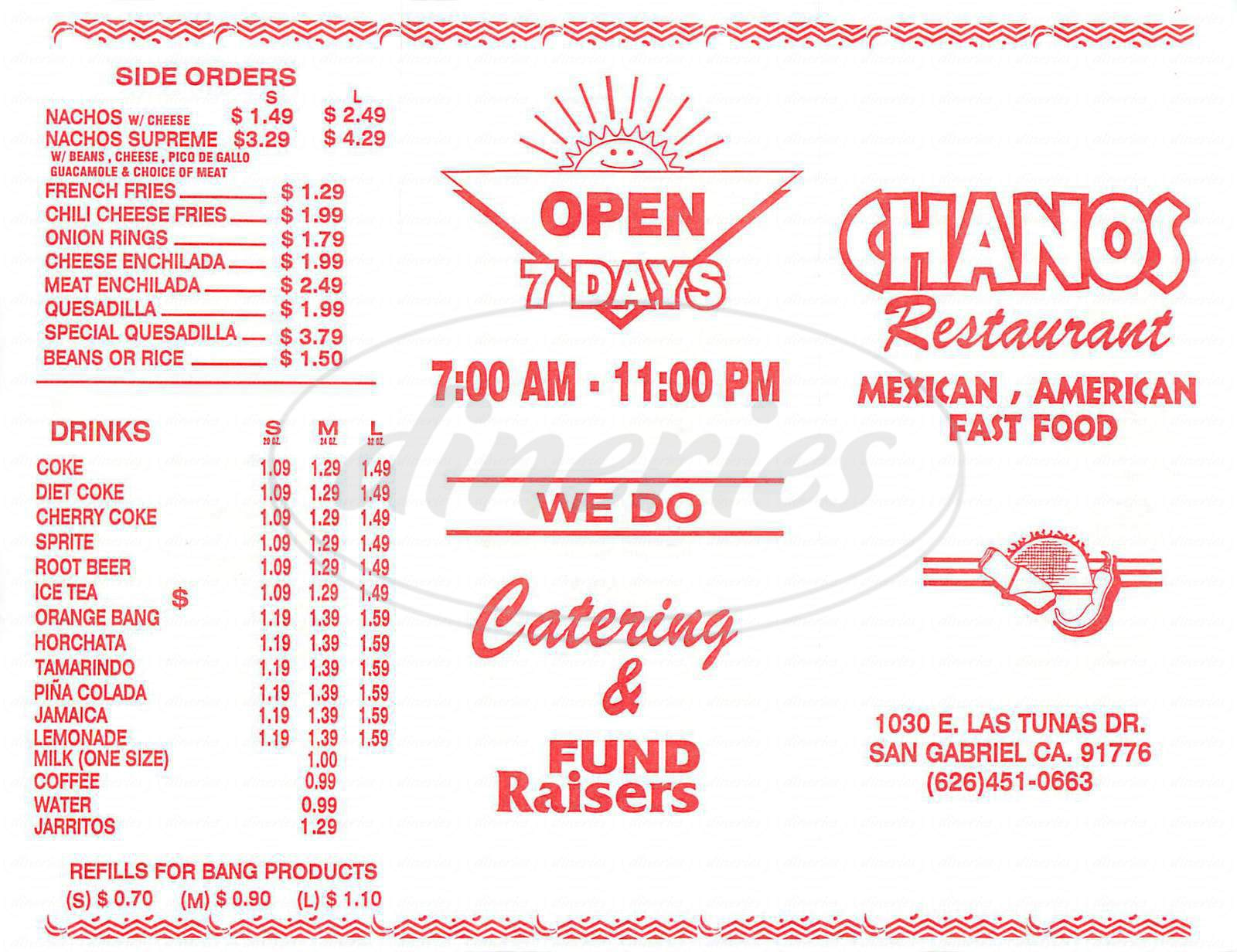 menu for Chanos Restaurant