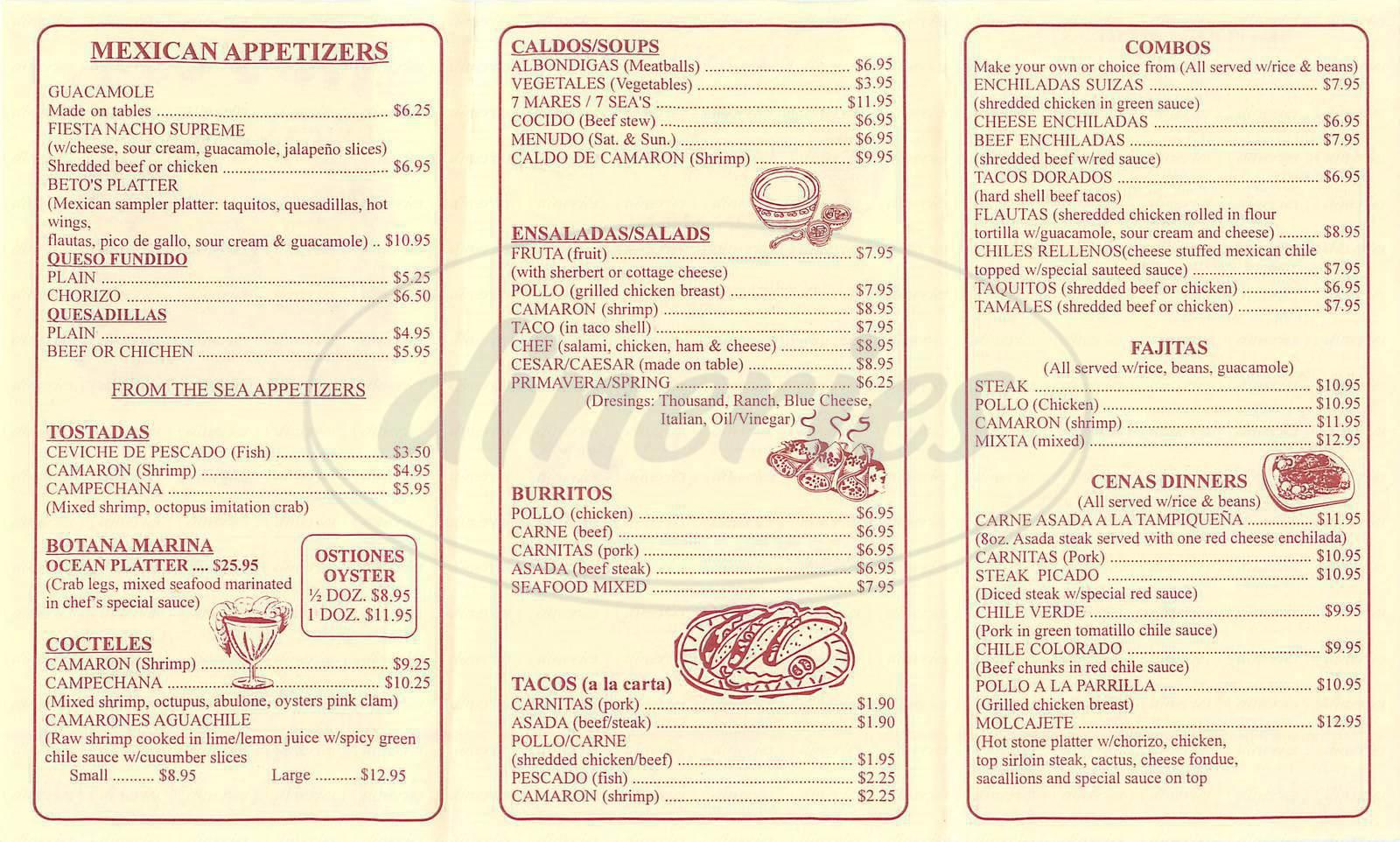 menu for Betos Grill