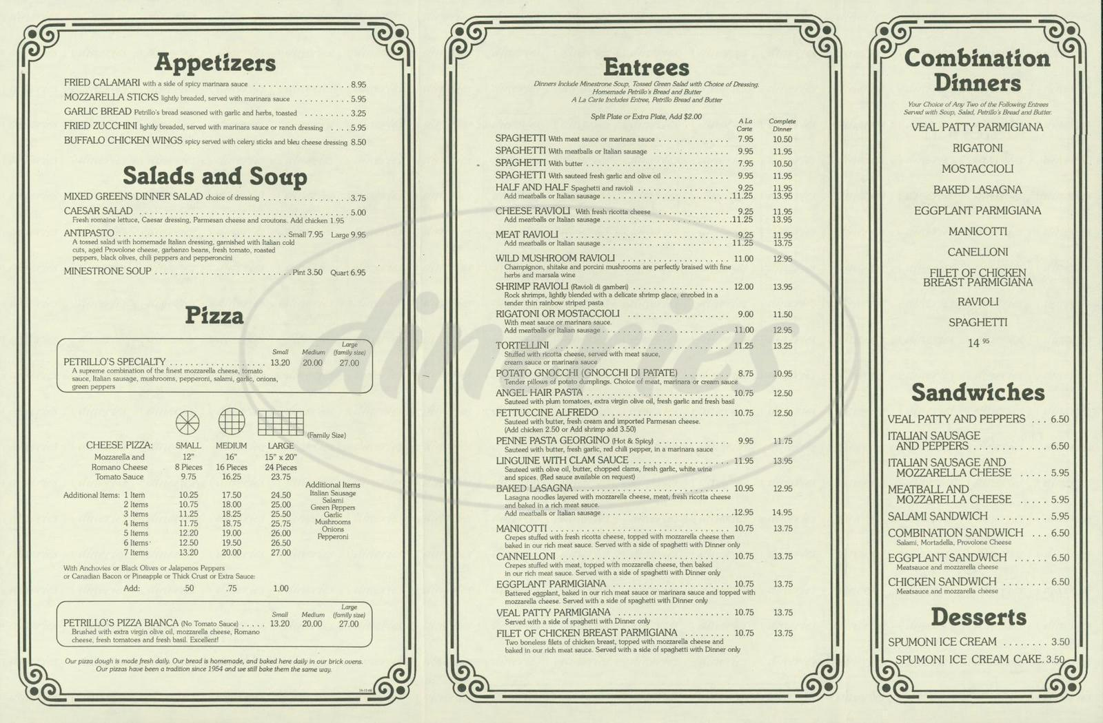 menu for The Original Petrillo's