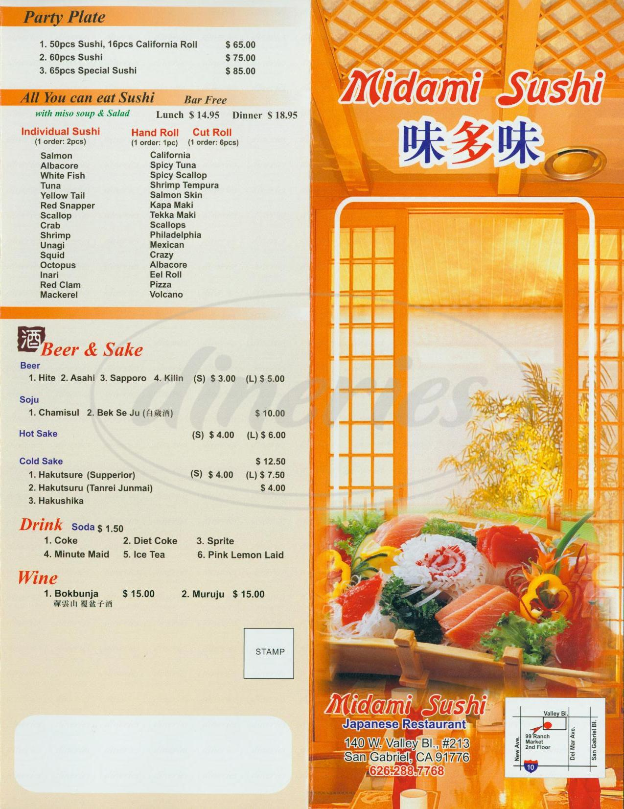 menu for Midami Sushi