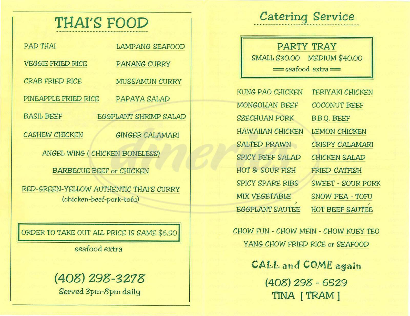 menu for China Thai Fast Food