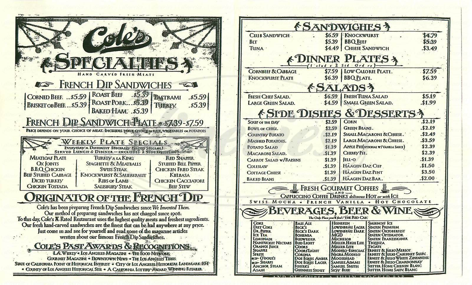 menu for Cole's