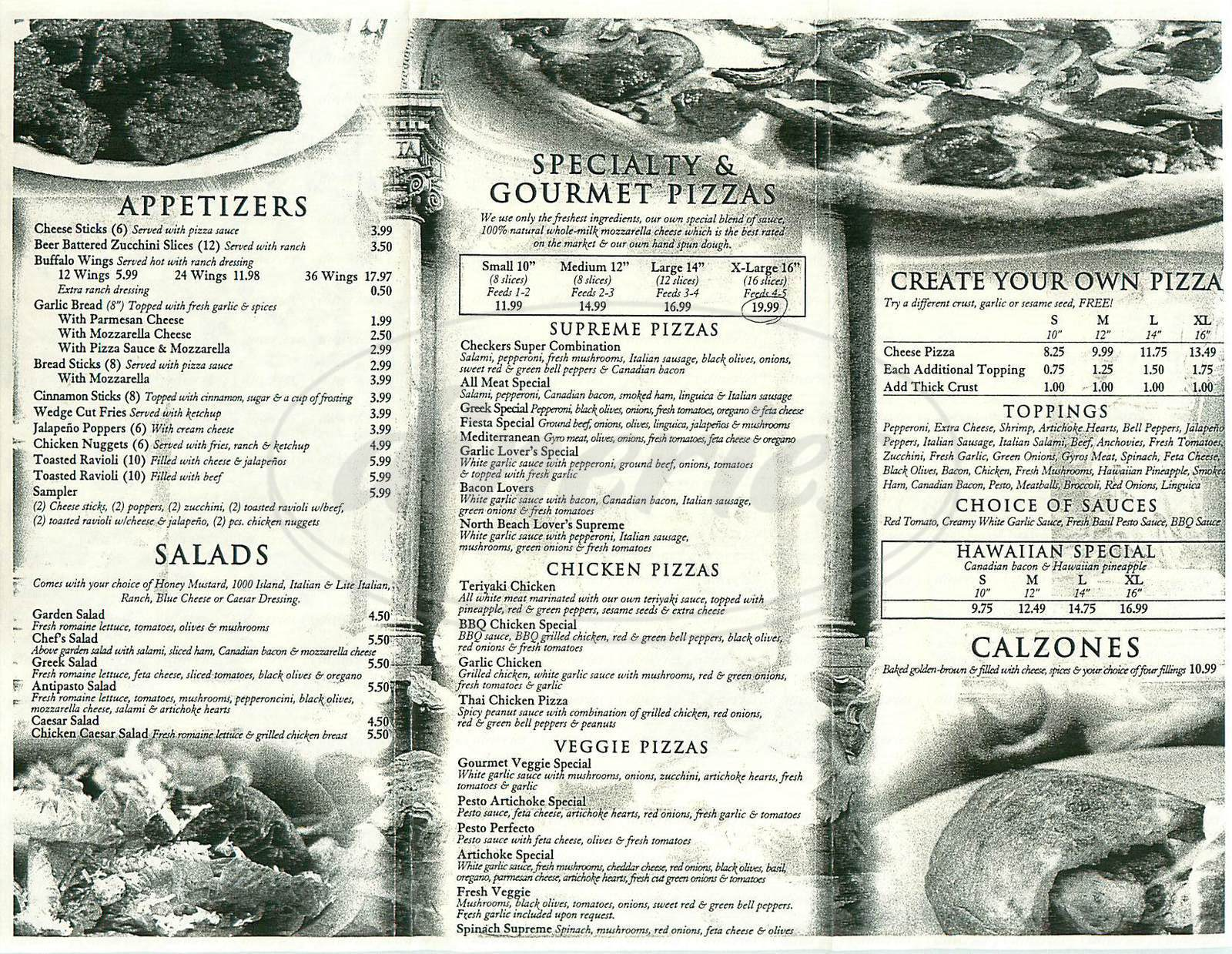 menu for Checkers Pizza