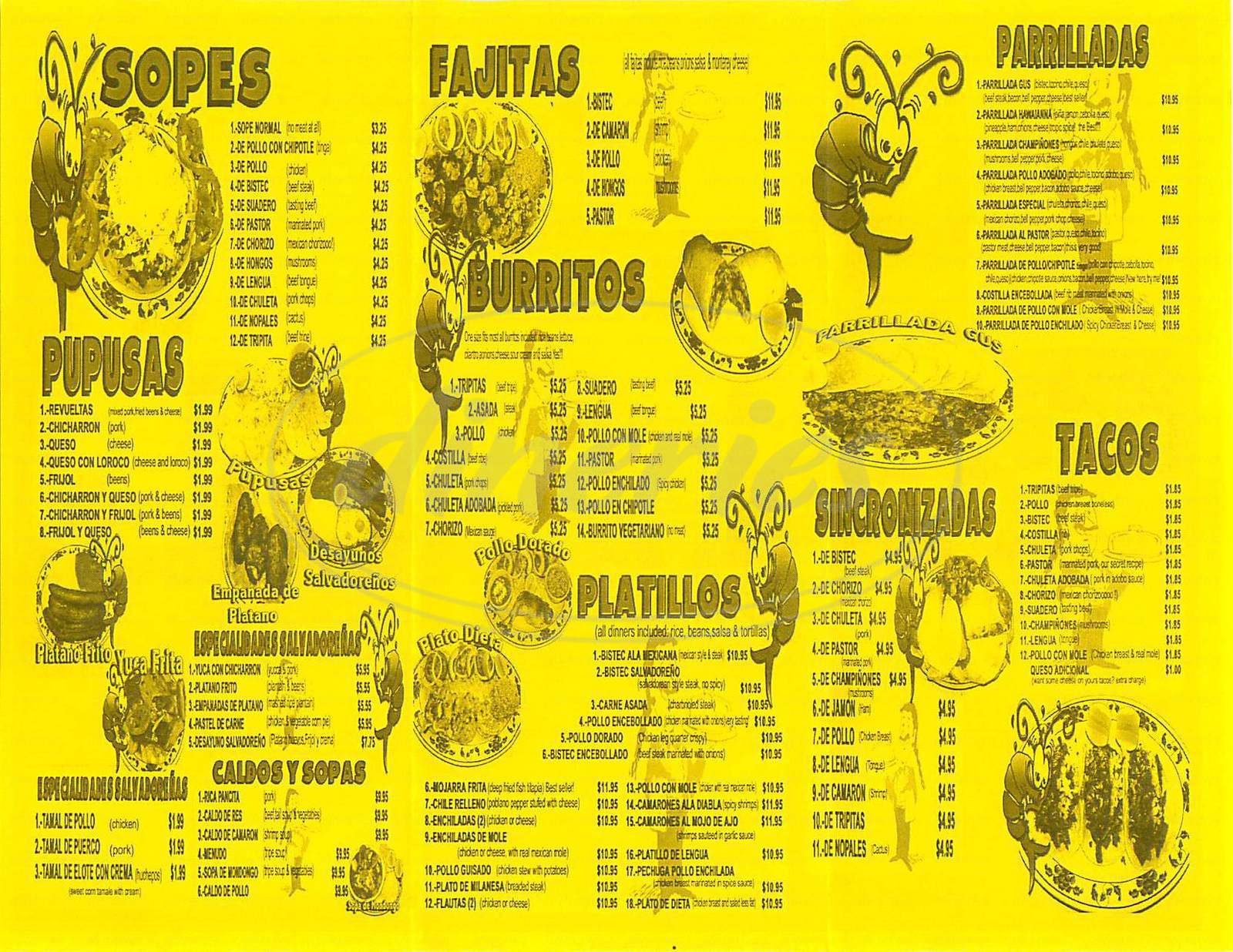 menu for Chalateco Restaurant