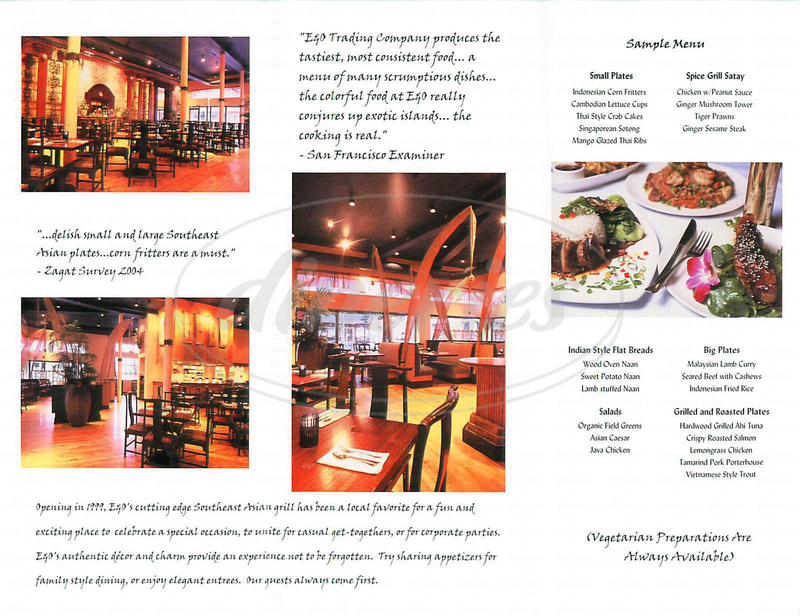 menu for E & O Trading Company