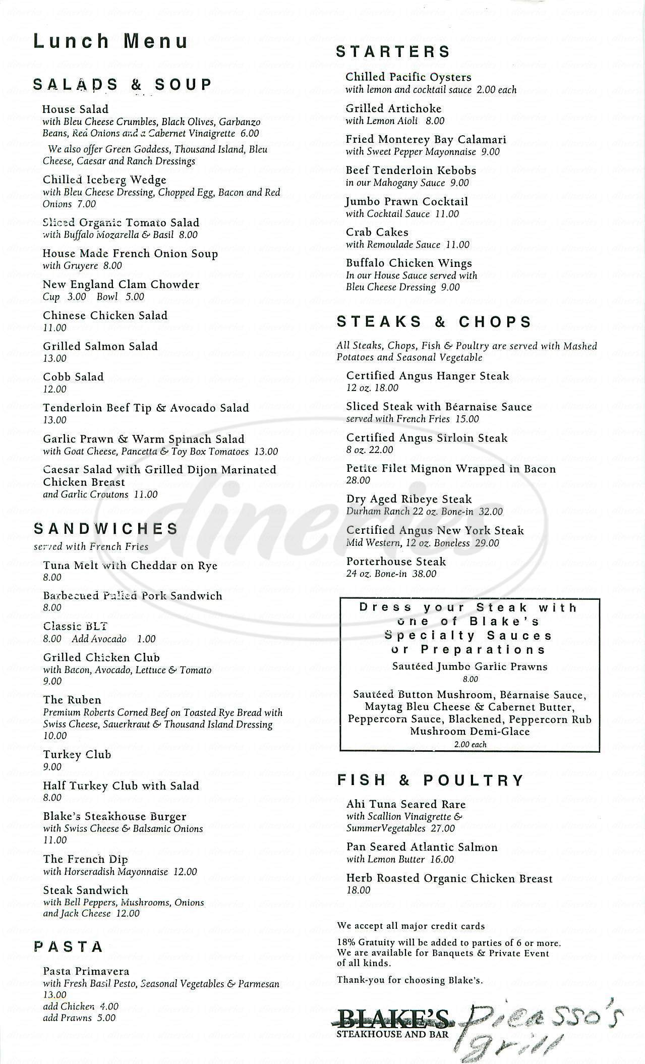 menu for Picasso's Grill