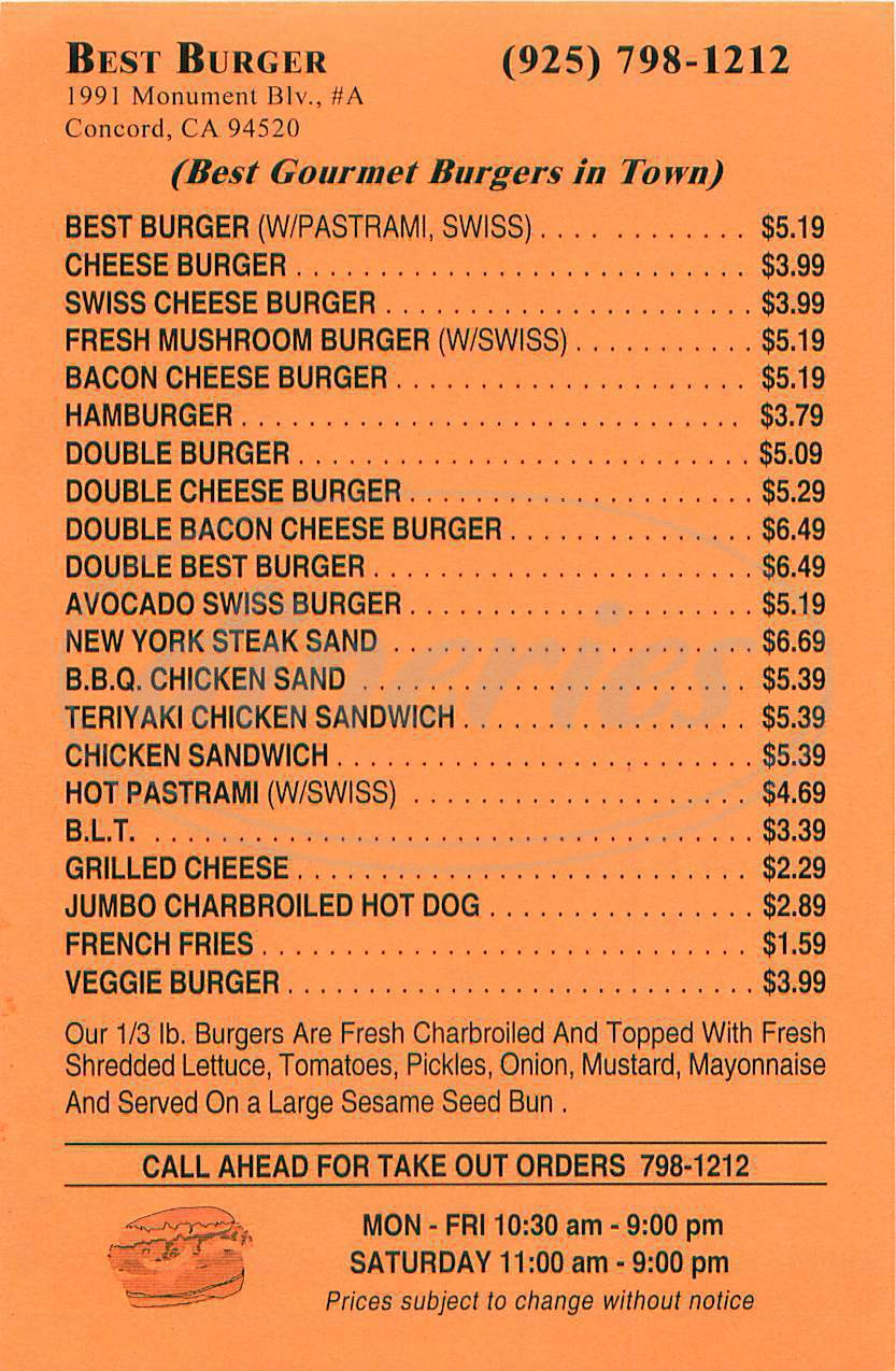 menu for Best Burger