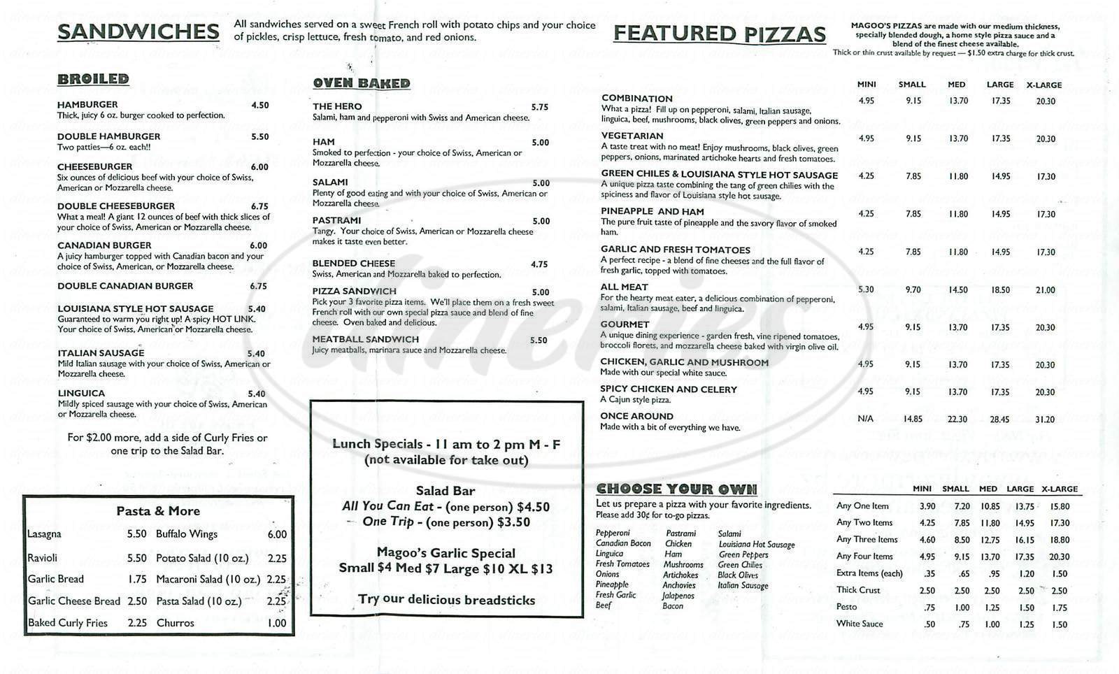 menu for Magoos Pizza
