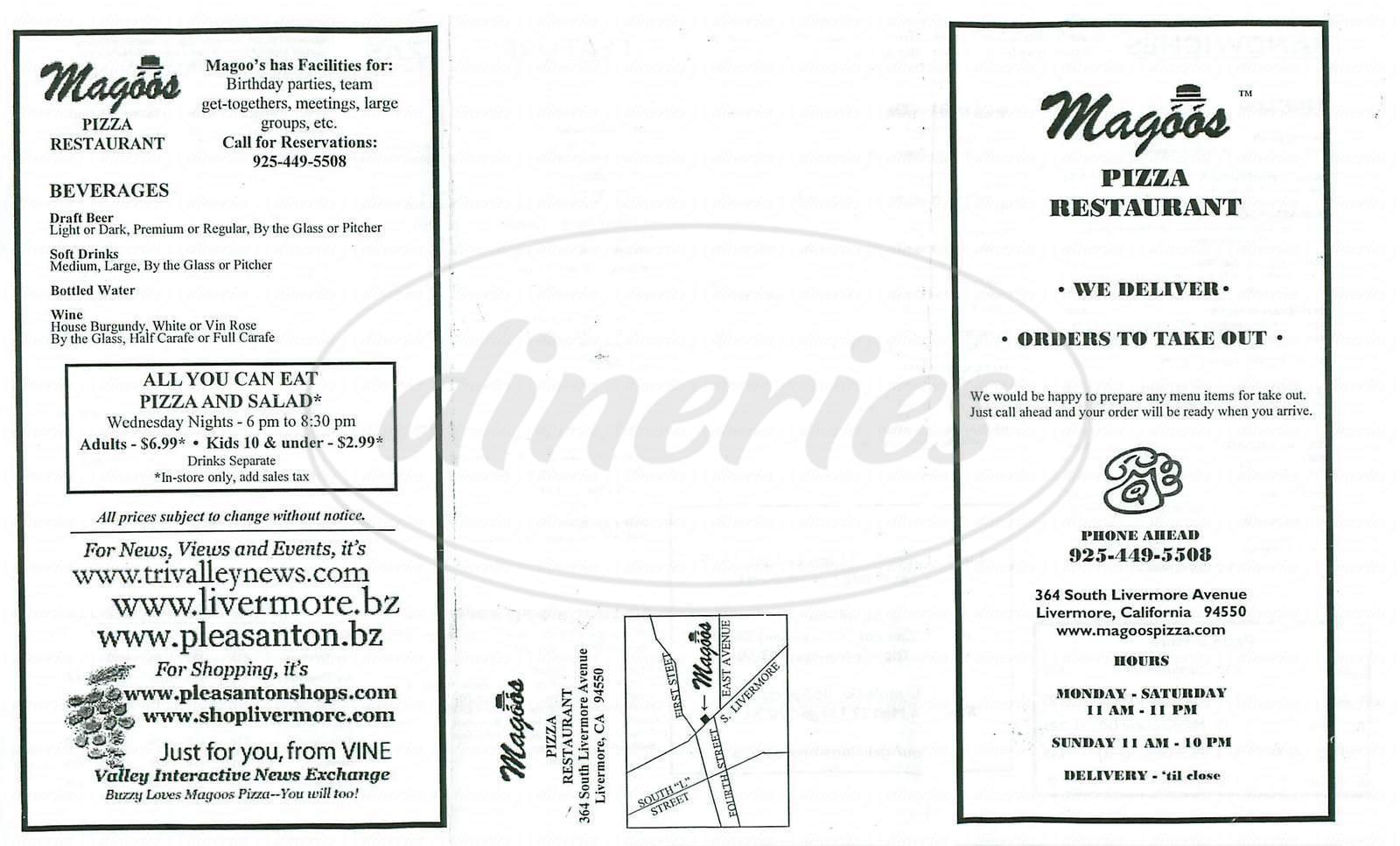 menu for Magoos Pizza