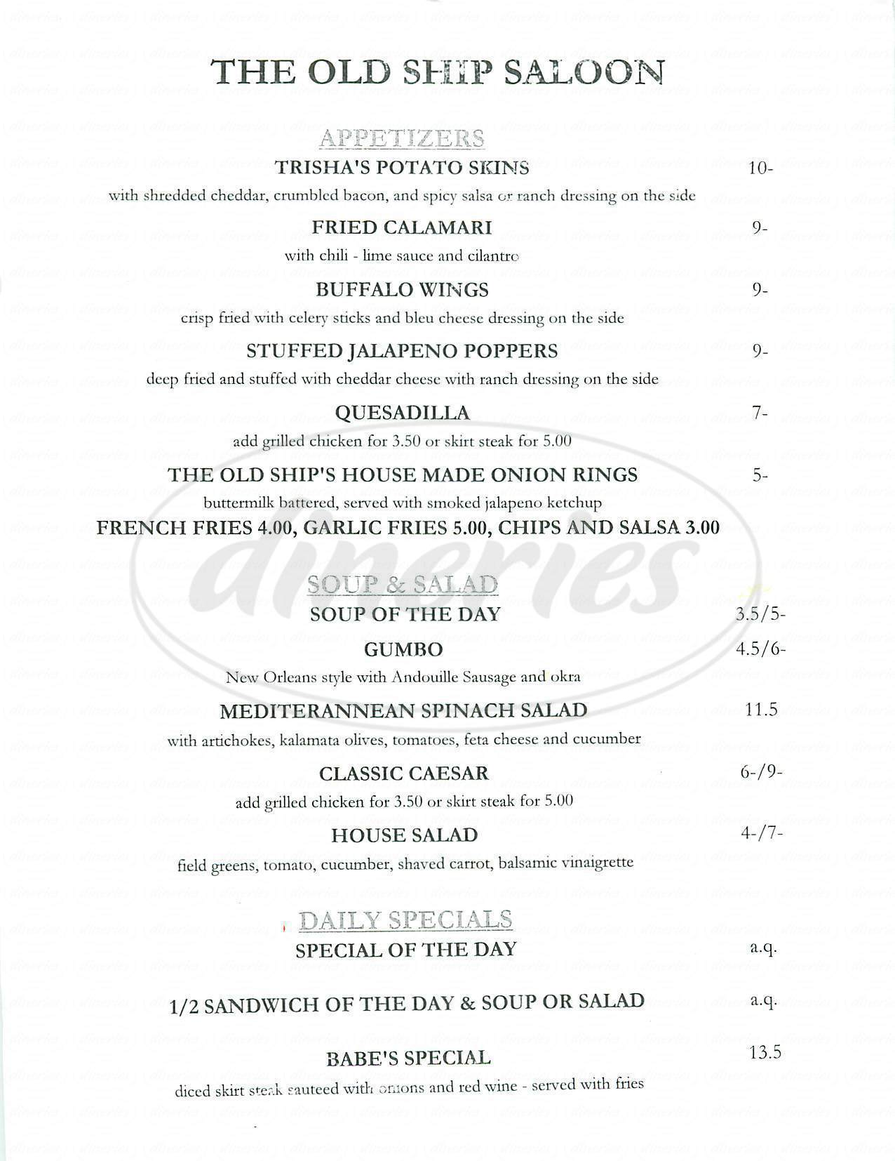 menu for The Old Ship Saloon