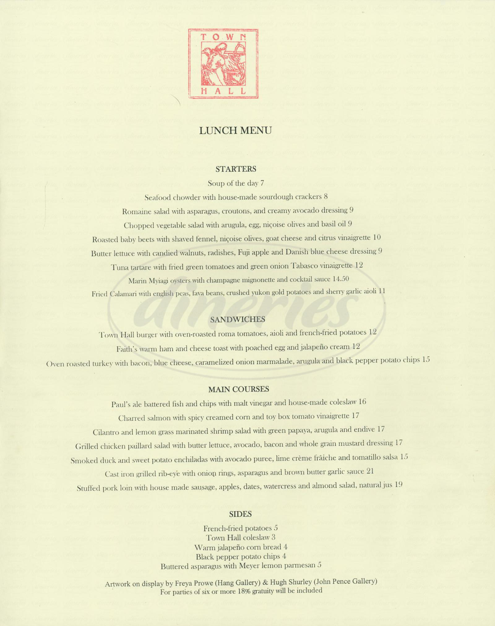 menu for Town Hall Restaurant
