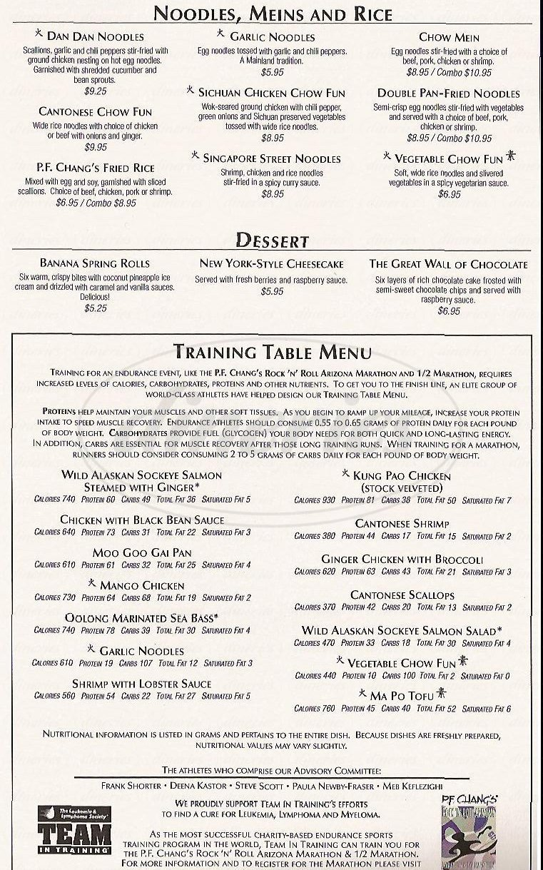 menu for P.F. Chang's China Bistro