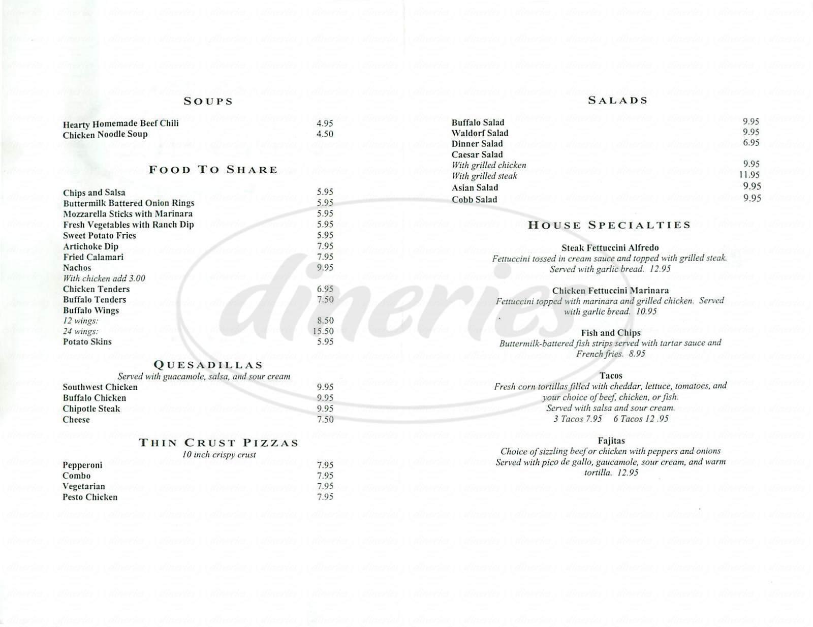 menu for Bayside