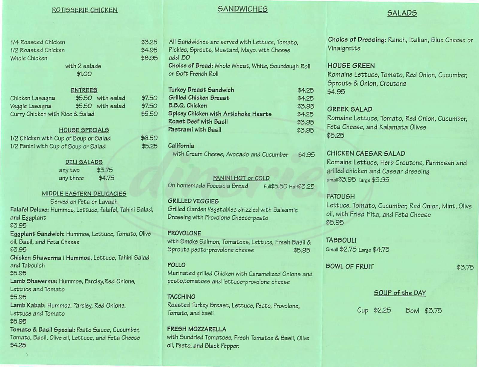 menu for Tomato & Basil