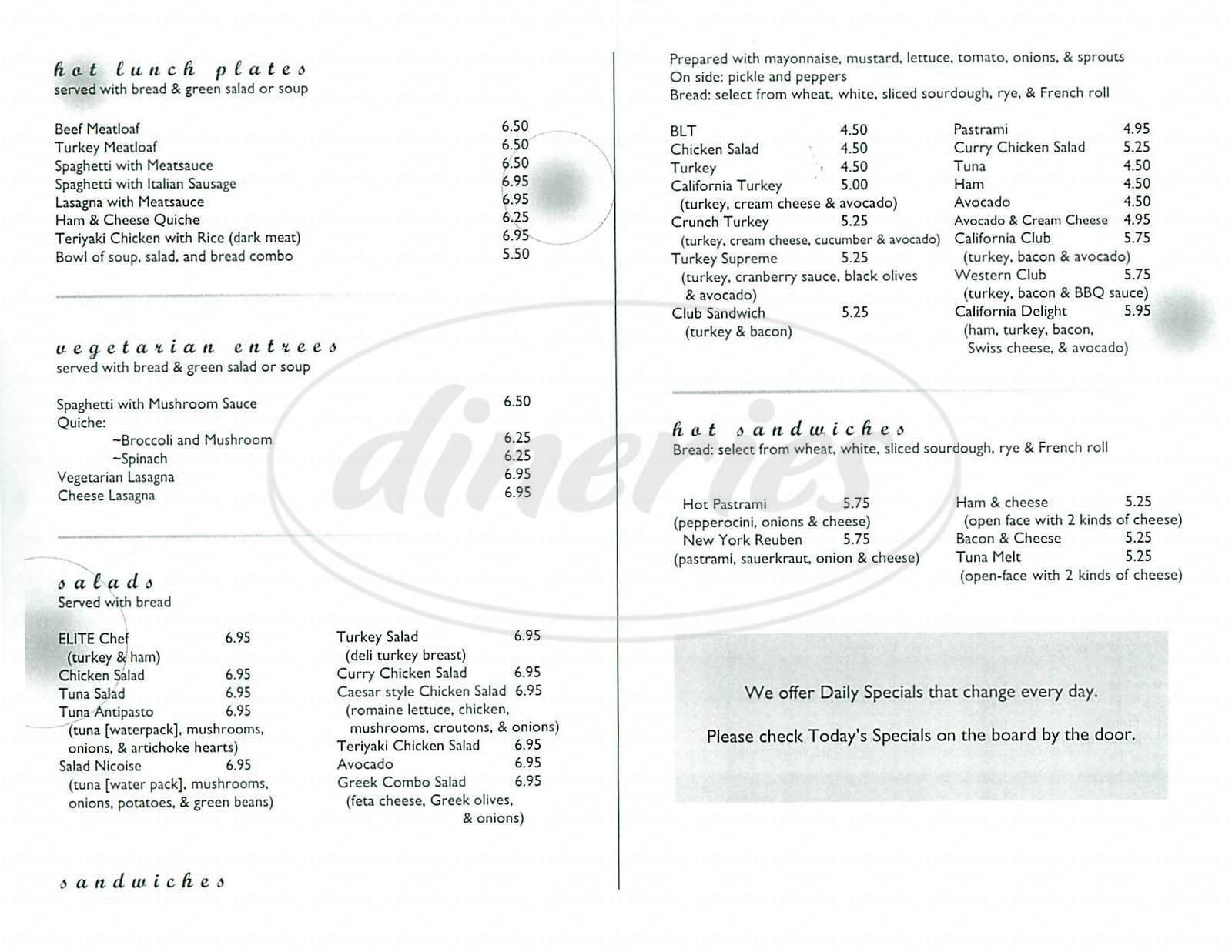 menu for Elite Restaurant
