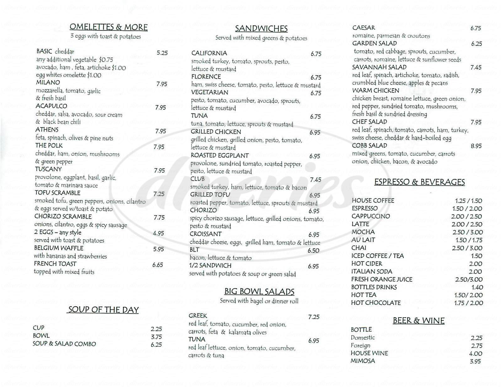 menu for The Crepe House