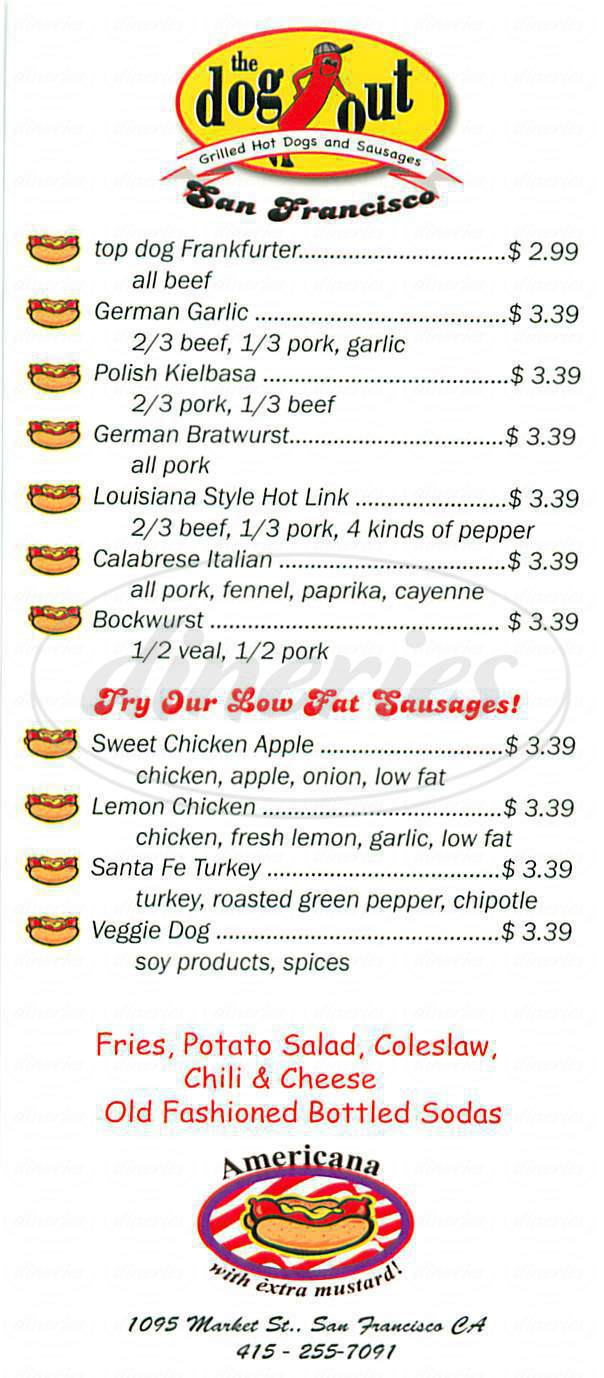 menu for The Dogout