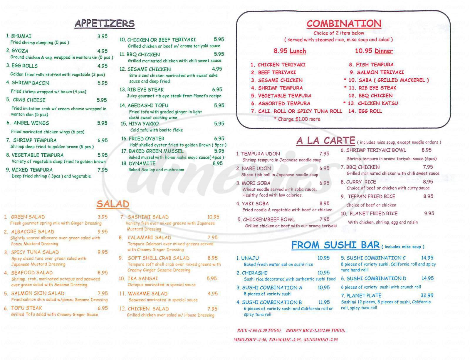 menu for Sushi Planet