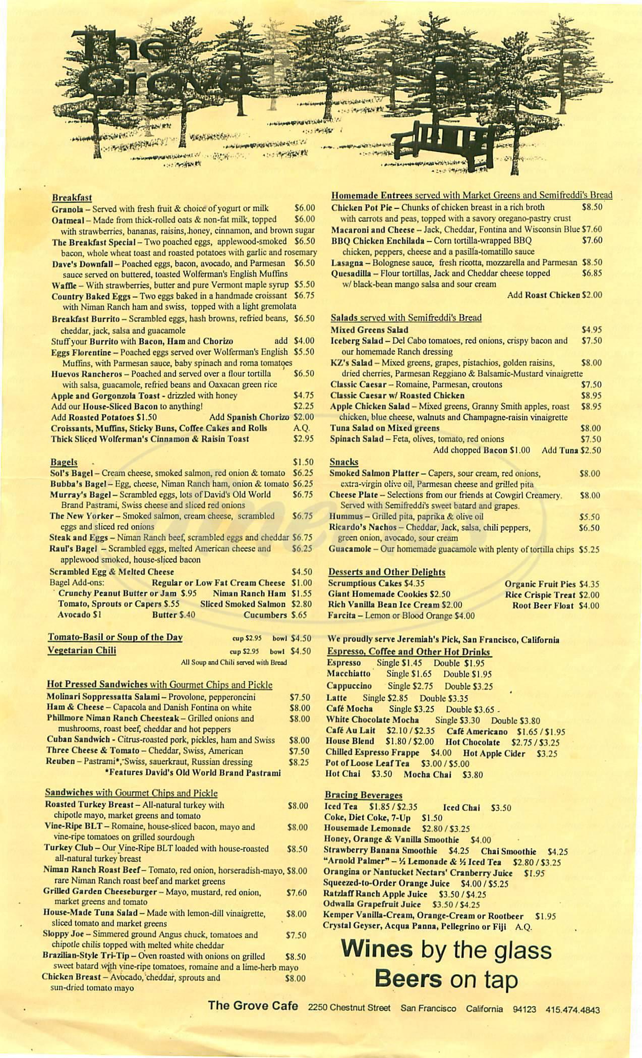 menu for The Grove