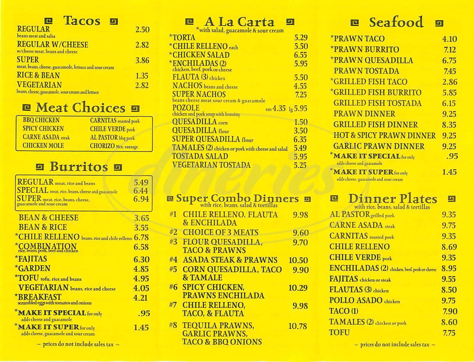 menu for Zapata Taqueria