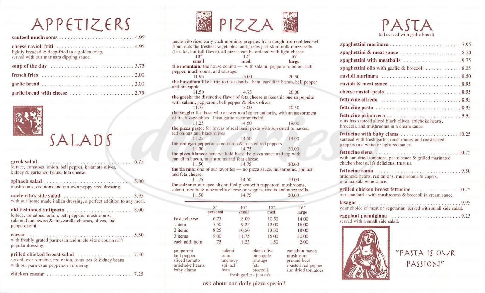 menu for Uncle Vitos Pizza
