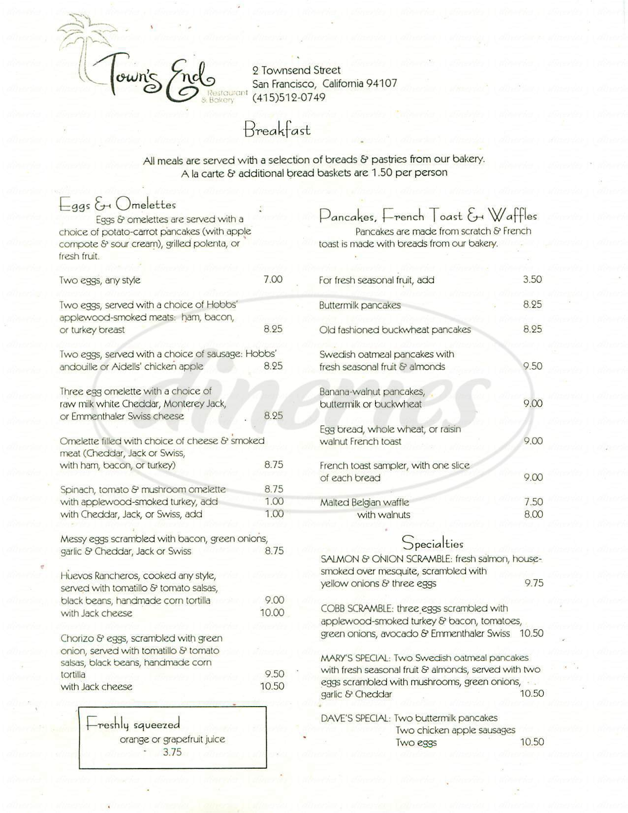 menu for Towns End Restaurant & Bakery