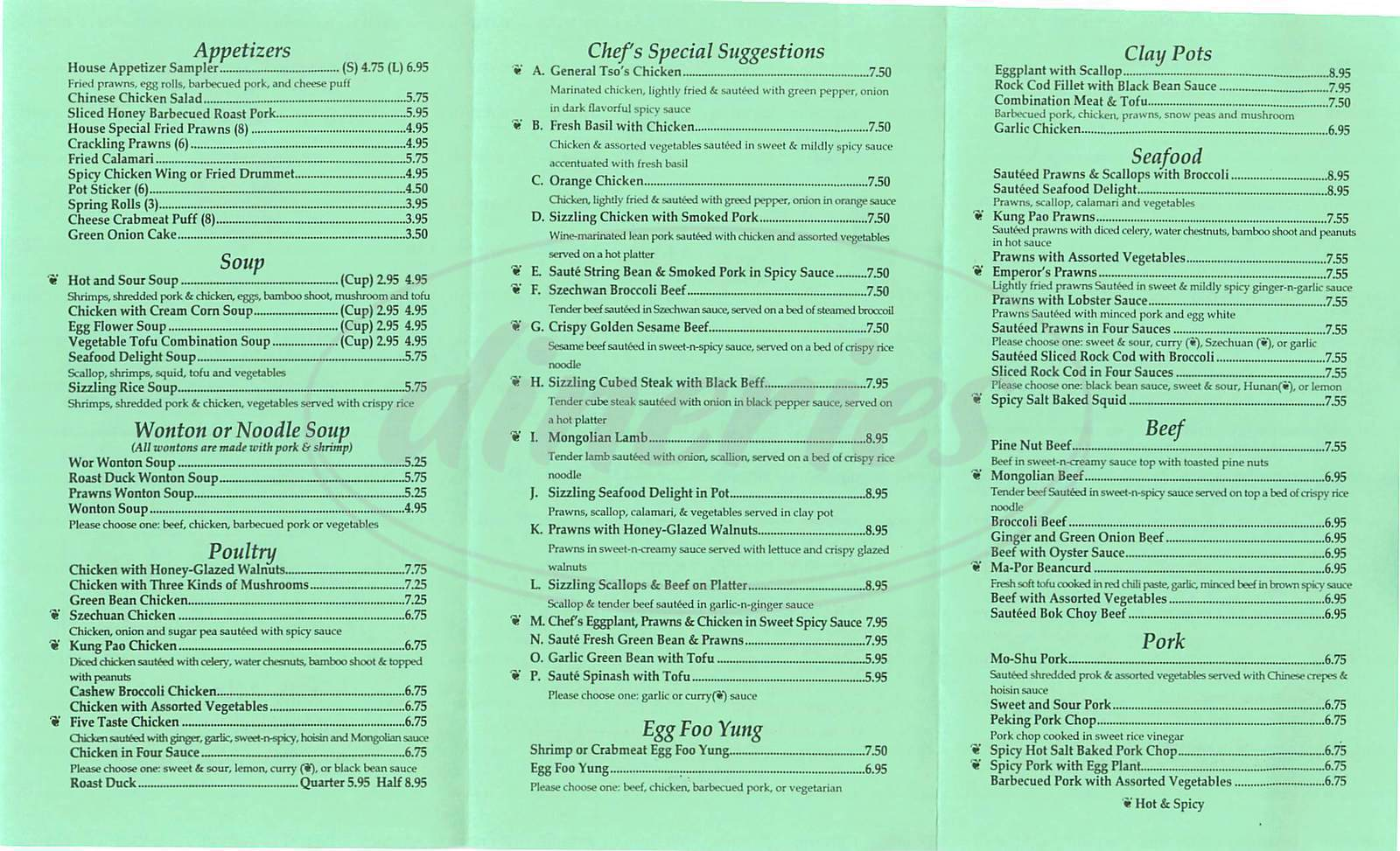 menu for Tung Sing Restaurant