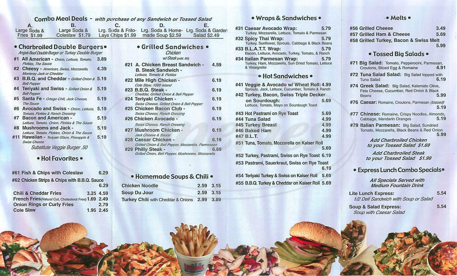menu for Trimana